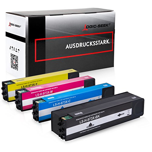 4 Logic-Seek Tintenpatronen kompatibel zu HP 973X für PageWide Pro 452dn 452dw 452dwt 477dn 477dw 477dwt 552dw 577dw 577z -