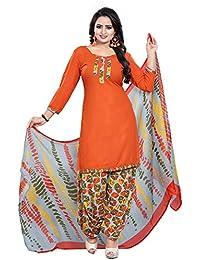 0d540a4e00 Salwar Studio Women's Orange & Grey Synthetic Printed Unstitch Patiyala Suit  with Dupatta(OM-