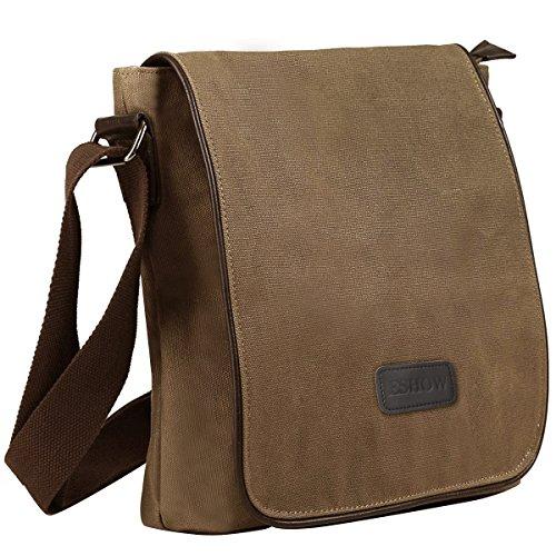 Eshow Herren Canvas Freizeit Retro Umhängetasche Schultertasche Handtasche Tasche Schultasche Messenger Bag Schwarz Braun