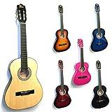RayGar Rio - Set chitarra classica 3/9 per principianti bambini, dai 4 ai 12 anni, con custodia, cinghie, plettri, accordatore e DVD guida 36'' Natural