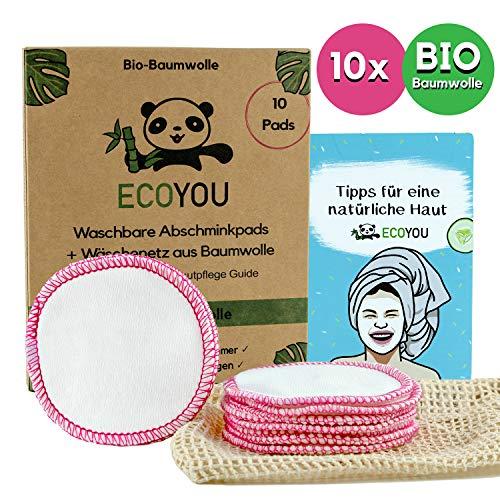 Punkt Make-up Entferner (EcoYou® Abschminkpads Waschbar aus BIO-Baumwolle 10 St. PINK ♻ Zero Waste Wattepads + WÄSCHENETZ aus Baumwolle ♻ Make Up Entferner Pads + Hautpflege GUIDE ♻ Wiederverwendbare Pads)