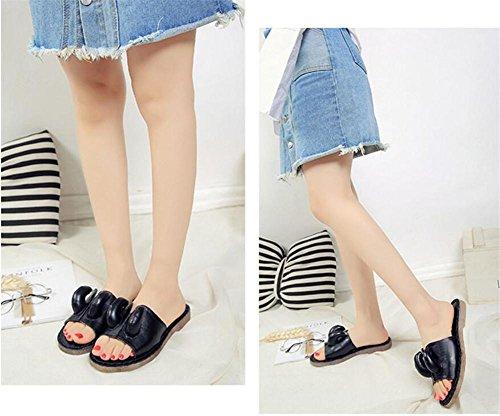 LDMB Damen Casual Peep-Toe Flat Soles Bequeme Sandalen Anti-Rutsch Breathable Pantoffeln Black