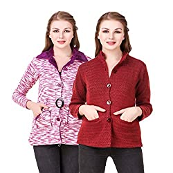 Kritika World Womens Wool Cardigan Dress (COAT_VELVET_MAZENTA_CNEHRU_MAROON_Mazenta Maroon_Large)