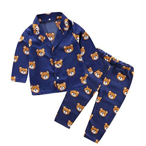 TTLOVE_Baby Kleidung Schlafanzug, Kleinkind Baby Mädchen Jungen Pyjama Sets T-Shirt Shorts Nachtwäsche(Marine A,100 cm,2-3 Jahre)
