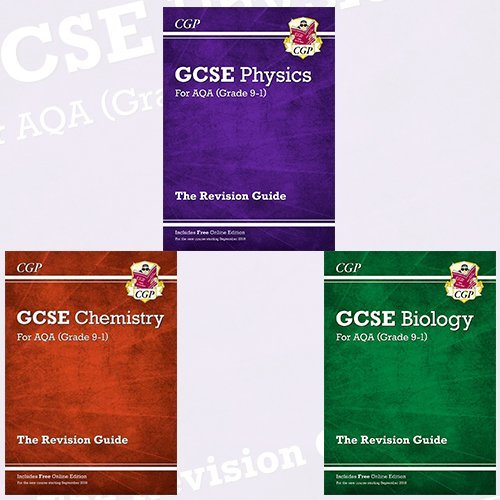New Grade 9-1 GCSE Collection Physics,Chemistry and Biology 3 Books Bundle By CGP Books - AQA Revision Guide with Online Edition