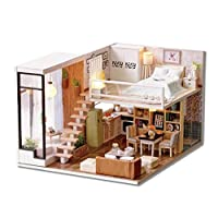 DIY Miniature Loft dollhouse Kit Realistic Mini 3D Wooden House Room Toy with Furniture LED Lights Birthday Christmas Gifts for Adults Teens Friends