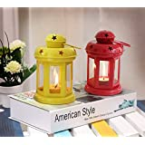 TiedRibbons Home Decorative Lantern With Tealight Candle Set Of 2(Yellow And Red)