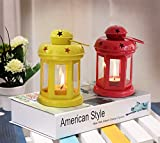 Tied Ribbons Decorative Iron Lantern with Tealight Candle Set of 2