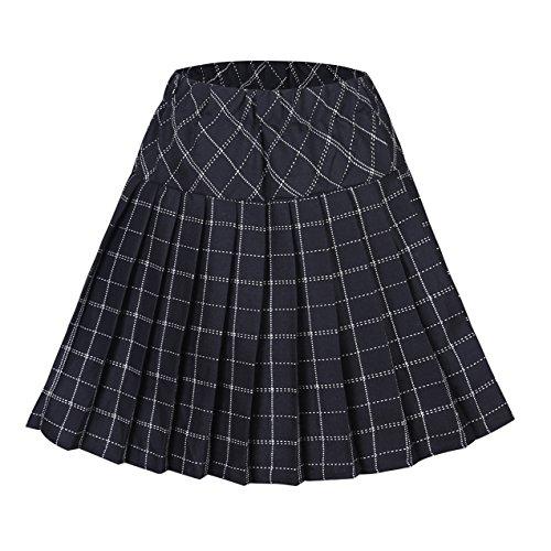 Urbancoco Damen Schulmädchen-Stil Tartan Skater Röcke (S, #9 schwarz)