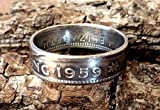 Coinring, Münzring, Ring aus Münze (1 Shilling, Australien 1959 ), 500er Silber - Double Sided coin ring - Größe 56 (17.8), handgeschmiedetes Unikat