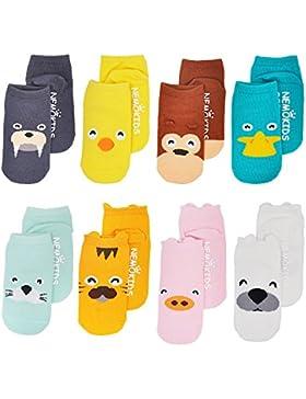 Baby Socken mit Griffen Non Slip Skid Kleinkind für Jungen Mädchen, 8 Paar pro Pack von ASBYFR
