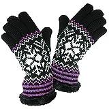 DAMES FEMMES Fairisle gants avec doublure thermique POLAIRE tricot-PURPLE