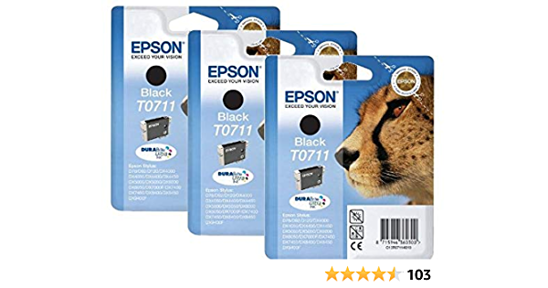 Epson T0711 Original Ink Cartridge Pack Of 3 Genuine Schwarz Bürobedarf Schreibwaren