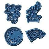Cuticuter Juego de Tronos Pack Cortador de Galletas, Azul, 16x14x1.5 cm, 4 Unidades