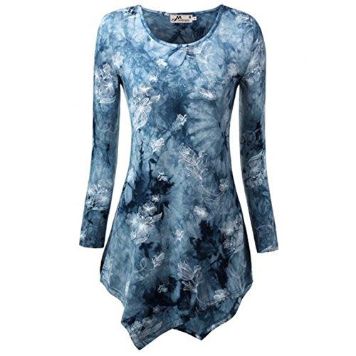 OUFour Donna Maglie a Manica Lunga Girocollo Mini Abito Stampare Tunica Top con Orlare Lrregolare T-Shirt Bluse Camicie Blu