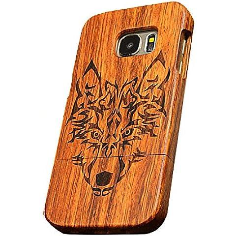 Forepin® Vero Legno Modello Retrò Wood Cover Caso Custodia Rigida Protezione Copertura per Samsung Galaxy S7 Edge - Copertura Di Legno Di Hybrid