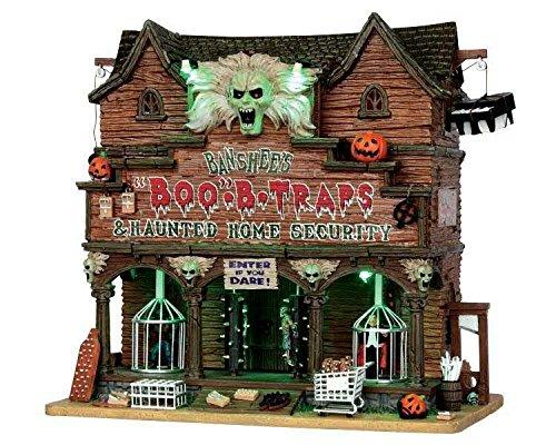 Lemax - Banshees Boo Traps - Horrorhaus - 29cmx27,8cmx17,5cm - Animiertes & beleuchtetes Gebäude mit Sound - Porzellan - Halloween Village - Spooky Town - Dorf