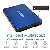 RiaTech & trade Tool Free Screw Less USB 3.0 2.5-inch SATA External Hard Drive Enclosure Adapter Case for HDD SSD SATA Drive, Blue