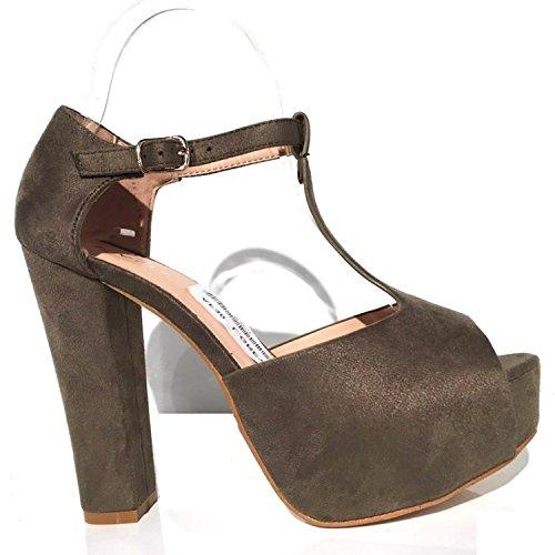 Damen Riemchen Abend Sandaletten High Heels Pumps Velours Peep Toes Party T-Riemen Schuhe Bequem AF3