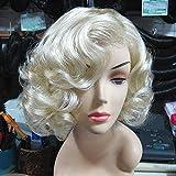 Jiafa Perücke, Marilyn Monroe Perücke, goldene europäische und amerikanische Modelle kurzes lockiges Haar, Außenhandel, original, hellgelb