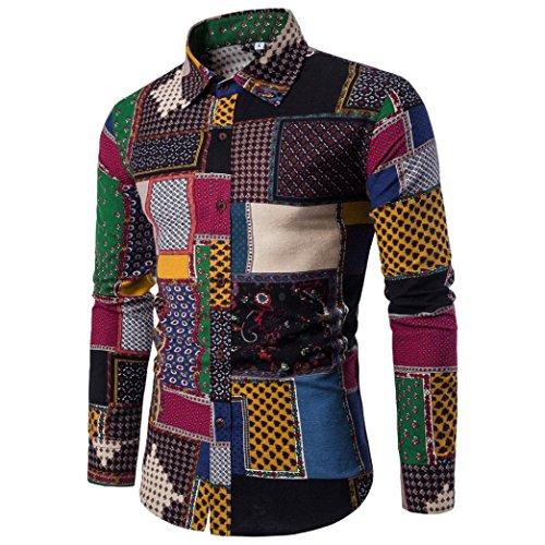 Gaddrt Mens Casual Long Sleeve Shirt Business Slim Fit Shirt Print Blouse Top M-5XL