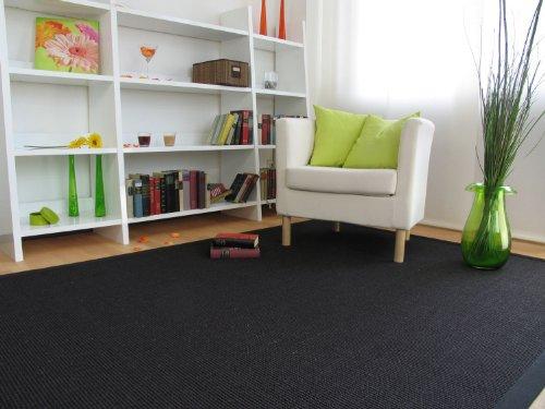 Astra Sisal Teppich Manaus mit Bordüre Farbe schwarz 100% Sisal - 18 Größen, Größe: 200x290 cm