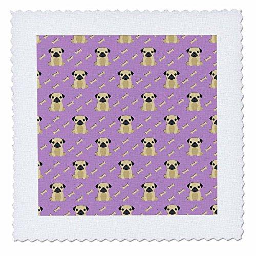 ugh-Hunde-Süßer Mops Hunde und Knochen Muster auf einem lila Hintergrund-Quilt Squares ()
