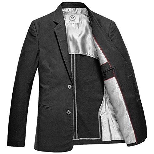 E-artist Homme 2 Boutons Lin Coton Blazer Veston X09 Noir