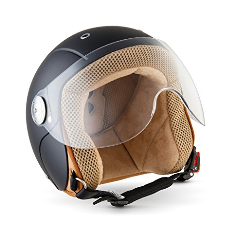 SOXON SK-55 Kids Night · Mofa Scooter-Helm Vintage Kids Bobber Roller-Helm Motorrad-Helm Retro Cruiser Vespa-Helm Kinder-Jet-Helm Kinder-Helm Pilot Jet-Helm Chopper Biker Helmet · ECE zertifiziert · mit Visier · inkl. Stofftragetasche · Schwarz · S (53-54cm)