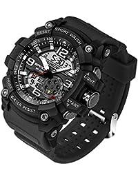 Reloj de Pulsera SANDA Hombres Reloj Impermeable Hasta 30m Militar Analógico Digital Cuarzo Deporte (Negro)