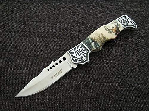 KOSxBO® wunderschönes Waidmann Jäger Taschenmesser mit Tasche - Klapp- Faltmesser - Dear Hunter Knife mit Hirsch Motiv -