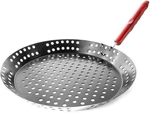 BBQ-Pfanne Grill-Pfanne Steak-Pfanne Pizza-Pfanne Rund Pizza-Pan mit klappbaren Holzgriff 33 cm