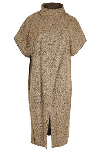 Oops sortie Cache de en tricot pour femme Polo Cap Mesdames Fourrure col en tricot pull Poncho Cape châle Taille unique Camel
