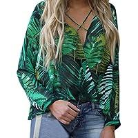 Damen Tops,TWBB Frauen Drucken Oberteile Unregelmäßig Lange Ärmel Shirts V-Ausschnitt T-Shirt Freizeit Bluse