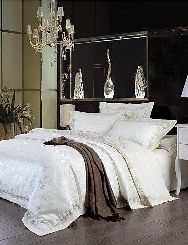 ZQ AT A Loss Milch weiß Betten Neue Jahr Geschenke Tröster Set uni Solide Bettwäsche ELEGANTE Blatt 4Queen King King Size weiß (Set Tröster Solide)