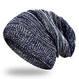 UPhitnis Dünn Knit Beanie für Herren Damen | Wolle Weiche Stretch Slouchy Strickmützen | Unisex Tägliche Outdoors Mütze, Blau-03, Einheitsgröße