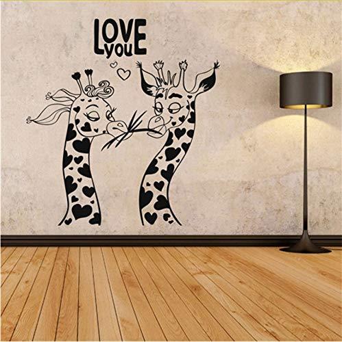 Lvabc Liebe Tier Muster Wandaufkleber Liebe Sie Auf den ersten Blick Humor Giraffen Wand Kunst Dekor Wandbild Removable Home Decoration 42X44Cm