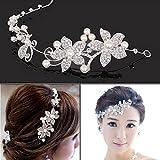 nicebuty Bianco Fiore di Strass Spilla copricapo da sposa pettine a capelli ornamenti di capelli