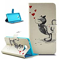Galaxy A7 2016 Case,Galaxy A7 2016 Case Wallet,ikasus Beautiful Painted Pattern Flip PU Leather Fold Wallet Pouch Case Premium Leather Wallet Flip Case with Stand Credit Card ID Holders Case Cover for Samsung Galaxy A7 (2016) A710F,Love Gray Cat