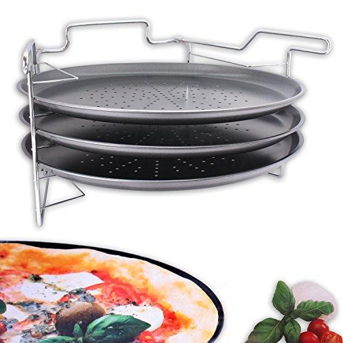 """Pizza Backset Ofenständer mit 3x Backblech \""""PizzaMaker\"""" für 3 Pizzas Ø 32,5 cm"""