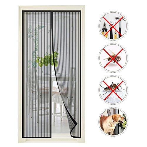vitutech Doornet10 Insektenschutz, Moskitonetze 100x220 cm Netz fliegen tür Vorhang fliegengitter balkontur Ohne Bohren Magnet Fliegenvorhang (Schwarz), Black L 100x220cm