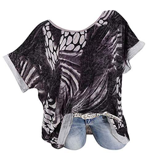TOPKEAL O-Neck Plus Size Druck Pailletten Kurze Ärmel Einfach Oberteil T-Shirt Damen Sommer Elegante Damen Bluse Tunika Frühling Causal Tops Mode 2019