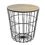 Beistelltisch rund 40xH43cm, schwarzer Metallkorb mit abnehmbarer Holzplatte - Aufbewahrungskorb Couchtisch Blumentisch Loungetische