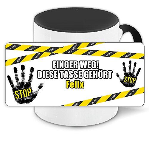 Büro-Tasse mit Namen Felix und schönem Motiv - Nr. 3 - Finger weg , diese Tasse gehört ... , Farbe: schwarz 8