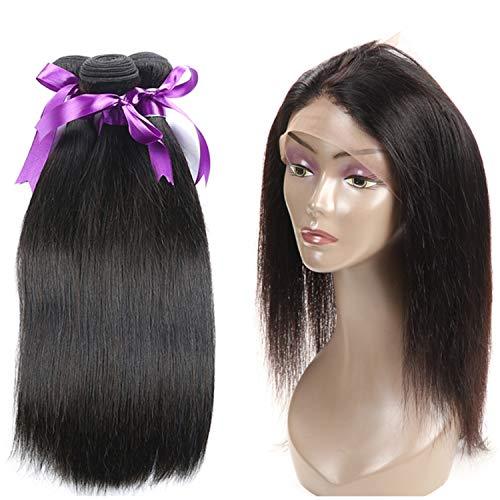 Natürliche Haarteile Brasilianisches glattes Haar 360 Lace Frontal mit Bündeln Non-Remy Echthaar 3 Bundle mit 360 Frontal Echthaar Perücke Perücken (Length : 12 14 16 Closure 10)