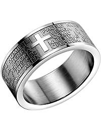 Flongo Anillo de hombre mujer, Anillo de compromiso Cruz grabado, Clásico anillo de hombre