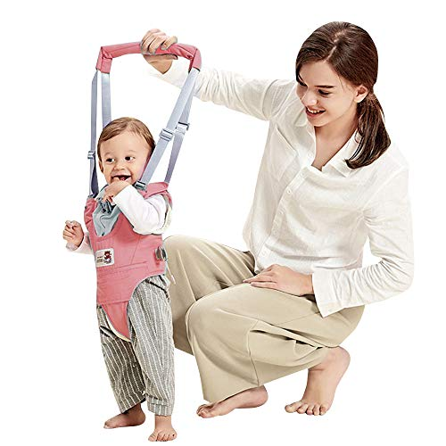 Arnés de Seguridad para Caminar Ajustable Arnés de Bebe a Pie de Caminado Aprendizaje Chaleco Arneses para Niños Andador Arnés Tirantes Con Correa y Hebilla de Bebé Protección 8-24 meses, Rosa
