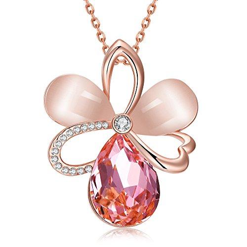 """dilanca 18K Placcato Oro Rosa Cristallo Swarovski Elements rosa opale ciondolo collana per le donne fashion jewelry, 18""""+ 2.5, placcato oro, colore: oro rosa, cod. HNL0001SG"""
