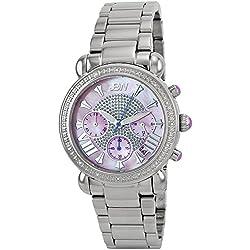 "Just Bling Ladies JB-6210-F ""Bronx Pink"" Stainless Steel Diamond Watch"