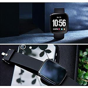 Prom-near Relojes Deportivos IP67 Impermeable Pantalla colorida Relojes Deportivos Detección de frecuencia cardíaca presión sanguínea Rastreador de ejercicios para Android4.4 IOS9.0 Negro+ metal